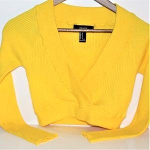 Foever21 Yellow Knit Sweater Long Sleeve Medium